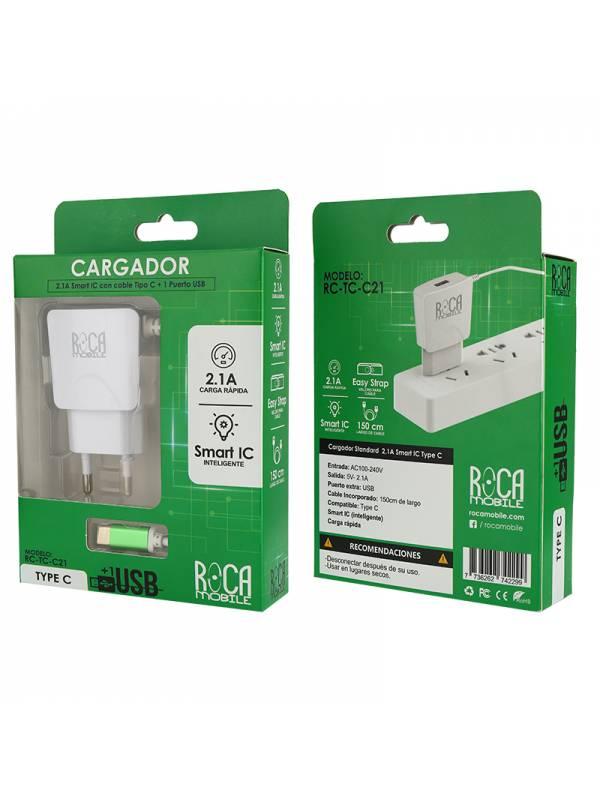 Cargador Inteligente ROCA 2.1A   1 USB   Tipo C