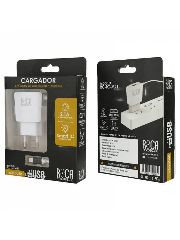 Cargador Inteligente ROCA 2.1A   1 USB   microUSB