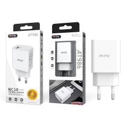 AT986 | Cargador Rápido | QC3.0 | Blanco (sin cable)