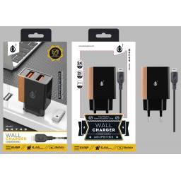 A4749 | Cargador Standard | 2,4A | 2 USB | Lightning | Dorado