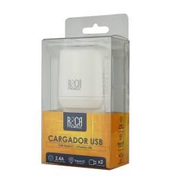 Cargador Inteligente ROCA 2.4A | 2 USB | Sin Cable