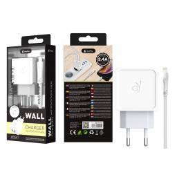 A5541 | Cargador Standard | 2,4A | 2 USB | Blanco | Lightning
