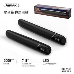 RB-M36   Parlante Bluetooth   2x5W   Negro   Aux/TF/FM/Reloj/Alarma   Remax