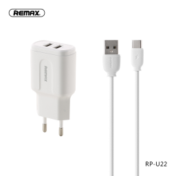 RP-U22a | Cargador Standard | 2 USB + Tipo C | 2,4A12W | Blanco | Remax