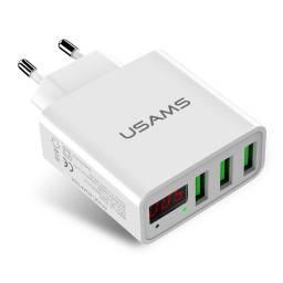 CC035 | Cargador Standard | 3 USB/2,4A | Display LED | Blanco | USAMS