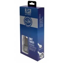 Cargador Inteligente Auto ROCA 4.2A + Cable Lightning
