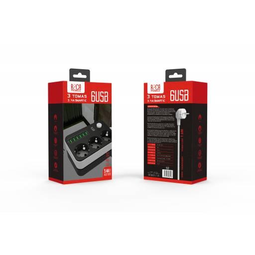 Cargador Inteligente Standard ROCA 3.4A/6 USB + 3 Schuko
