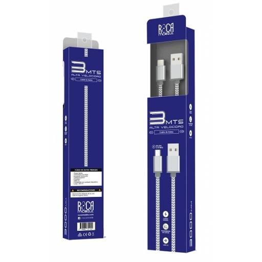 Cable de Datos ROCA Lightning - Forrado, 300cm