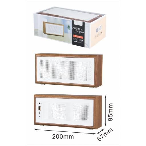 FT802 - Parlante Bluetooth M.TK 5Wx2/USB/TF/FM/Mic - Madera