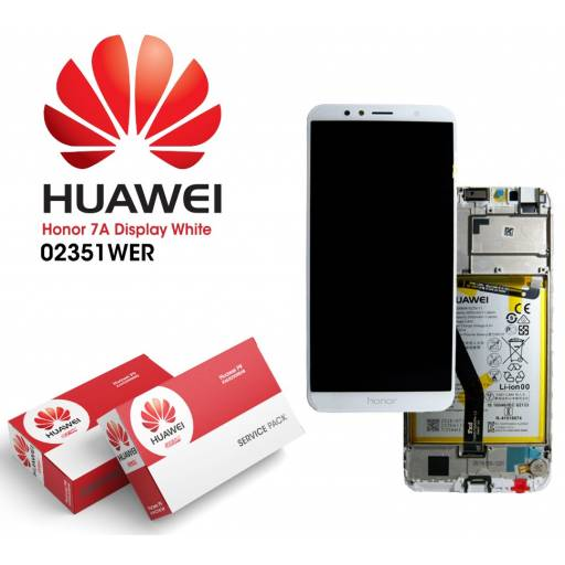Display Huawei Honor 7A Comp c/M + Batería Blanco   Original (02351WER)