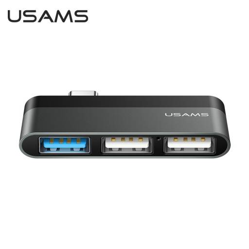SJ461   mini Hub Tipo C   3 USB   Gris