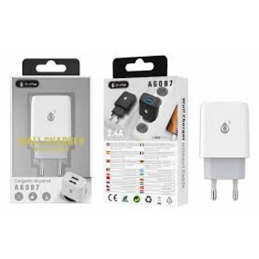 A6087 | Cargador Standard | 2,1A | 2 USB | Blanco | Smart IC
