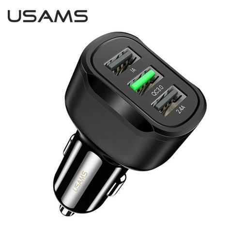 CC100-1 | Cargador Rápido C17 | QC3.0 | 3 USB/2,4A | Negro | USAMS
