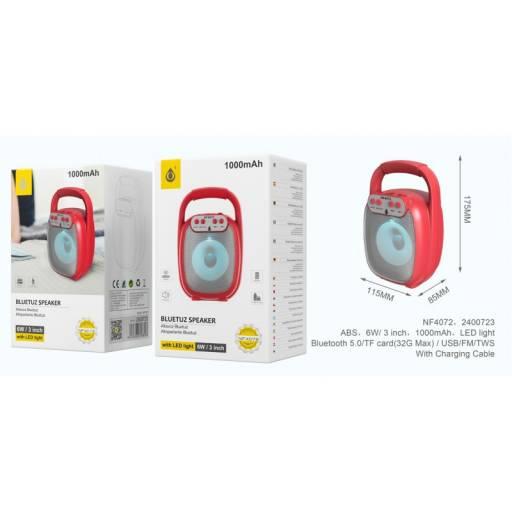 NF4072   Parlante Bluetooth   Rojo   FM/USB/SD//TWS   6W   1.000mAh   One+   8435606706896