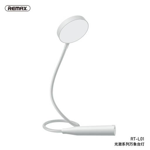 RT-L01 | Lámpara LED | Brazo Flexible | Luz regulable | Blanca | Recargable | Remax