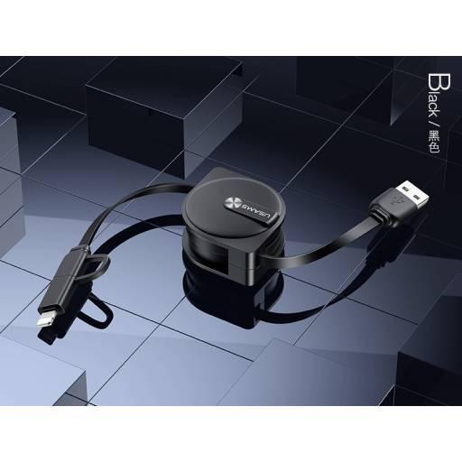 SJ192 | Cable de Datos Retráctil | 2 en 1 | microUSB+Lightning | Negro