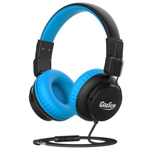 Auricular Stereo Gorsun E92V Azul Infantil c/ Limitador de audio