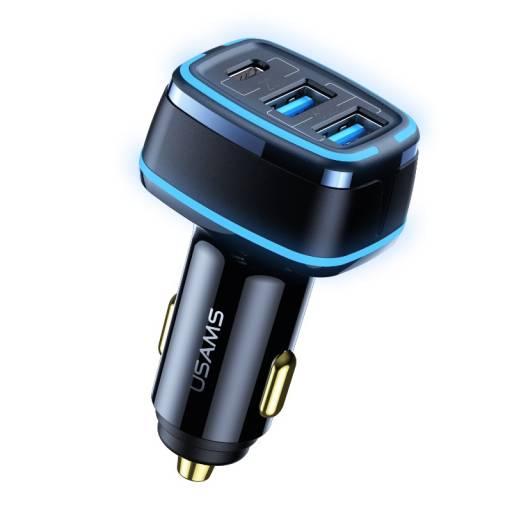 CC126   Cargador Auto   80W   3 USB   Carga Rápida   Negro   USAMS