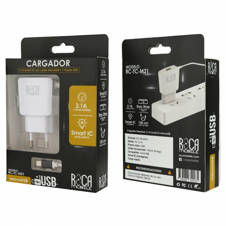 Cargador Inteligente ROCA 2.1A | 1 USB | microUSB