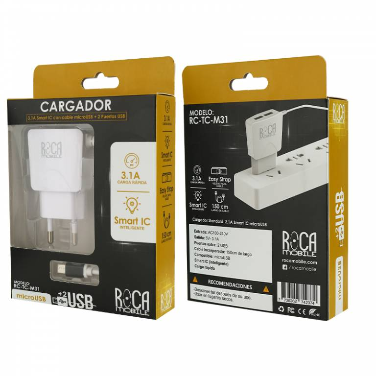 Cargador Inteligente ROCA 3.1A | 2 USB | microUSB