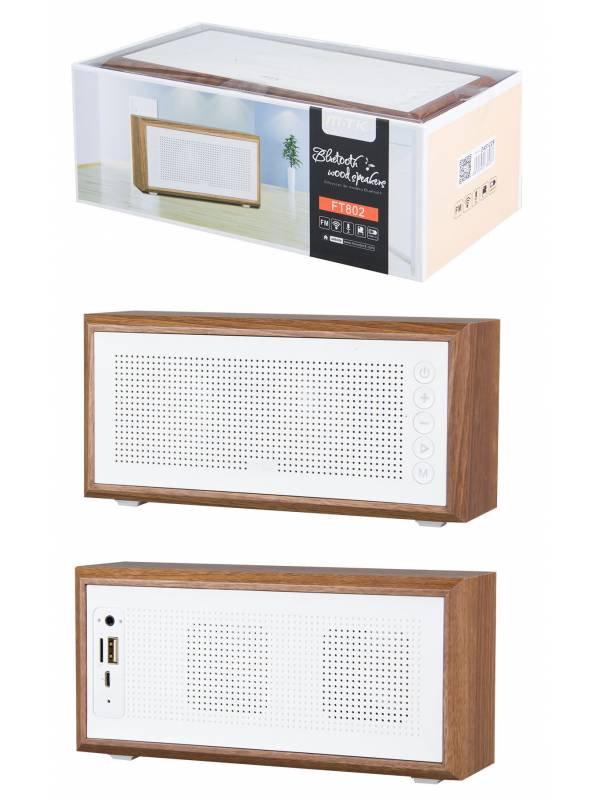 FT802 - Parlante Bluetooth M.TK 5Wx2USBTFFMMic - Madera