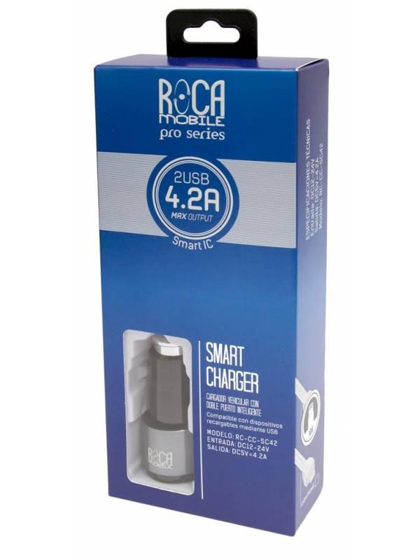 Cargador Inteligente Auto ROCA 4.2A + Cable microUSB