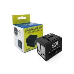 Cargador Inteligente Universal ROCA 2.1A/2 USB con Adaptador (RC-AU-001)