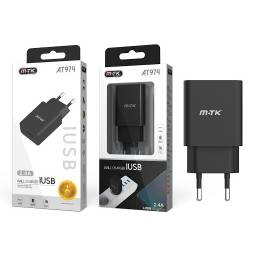 AT974 | Cargador USB | 2.4A | Negro (sin cable)
