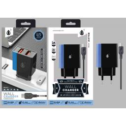A4746 | Cargador Standard | 2,4A | 2 USB | microUSB | Azul
