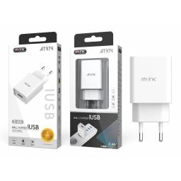 AT974 | Cargador USB | 2.4A | Blanco (sin cable)