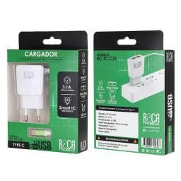 Cargador Inteligente ROCA 3.1A | 2 USB | Tipo C