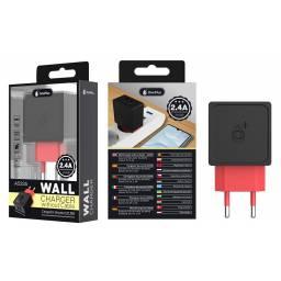 A5535 | Cargador Standard | 2,1A | 2 USB | Negro | Sin Cable