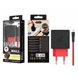 A5541 | Cargador Standard | 2,4A | 2 USB | Negro | Lightning