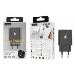 A6087 | Cargador Standard | 2,1A | 2 USB | Negro | Smart IC