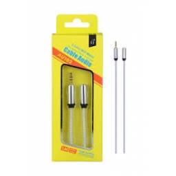 AU102 | Cable Auxiliar Metalico 3.5mm a 3,5mm | 1M | Plateado