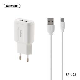RP-U22i   Cargador Standard   2 USB + Lightning   2,4A12W   Blanco   Remax