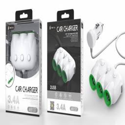 A6137 | Cargador Auto | Triple salida auto + USB | 3,4A | Blanco | One+ | 8944870161374