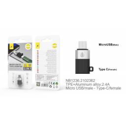 NB1236   Adaptador Tipo C a microUSB   Negro   One+   8435606706032