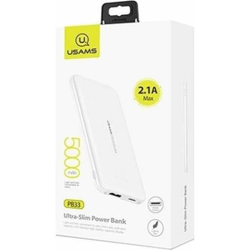 US-CD96 | Power Bank 5000mAh | 1 USB | 2.1A | Blanco