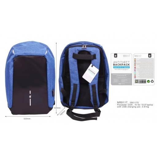 NR9117 | Mochila antirobo | 15,6'' | Puerto USB | Azul | One+ | 8435606703444