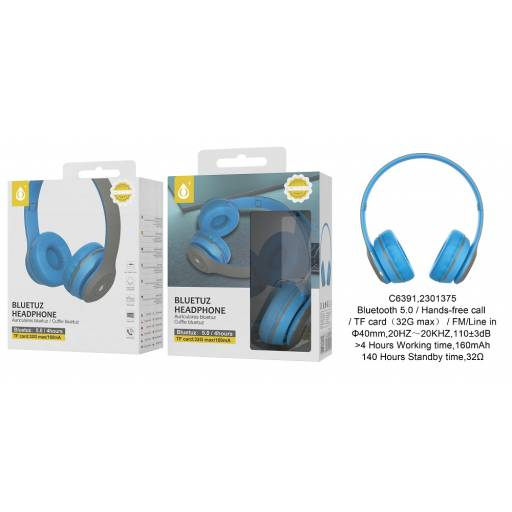 C6391 | Auricular Bluetooth | FM/SD/Aux | Azul | One+ | 8944870163927