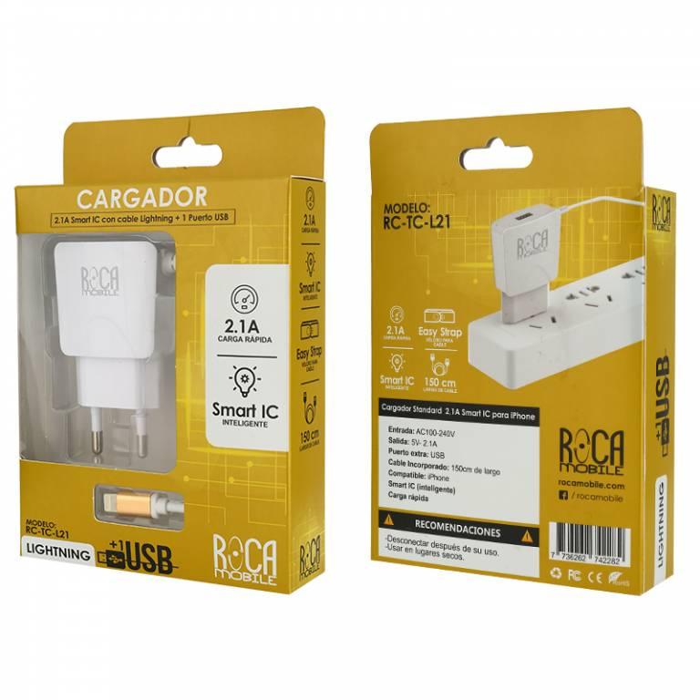 Cargador Inteligente ROCA 2.1A | 1 USB | Lightning