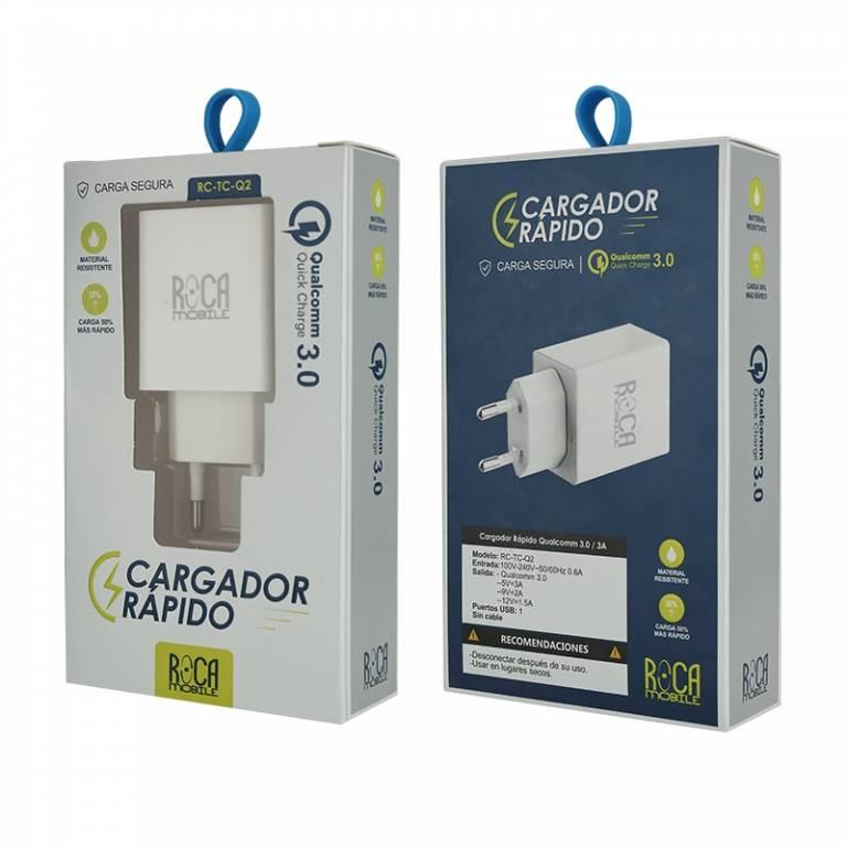 Cargador Rápido ROCA QC3.0 | 1 USB | Sin Cable